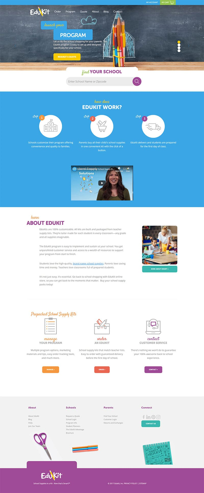 full screenshot of edukit website